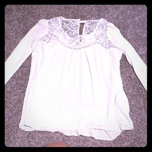 White long sleeve top with lace